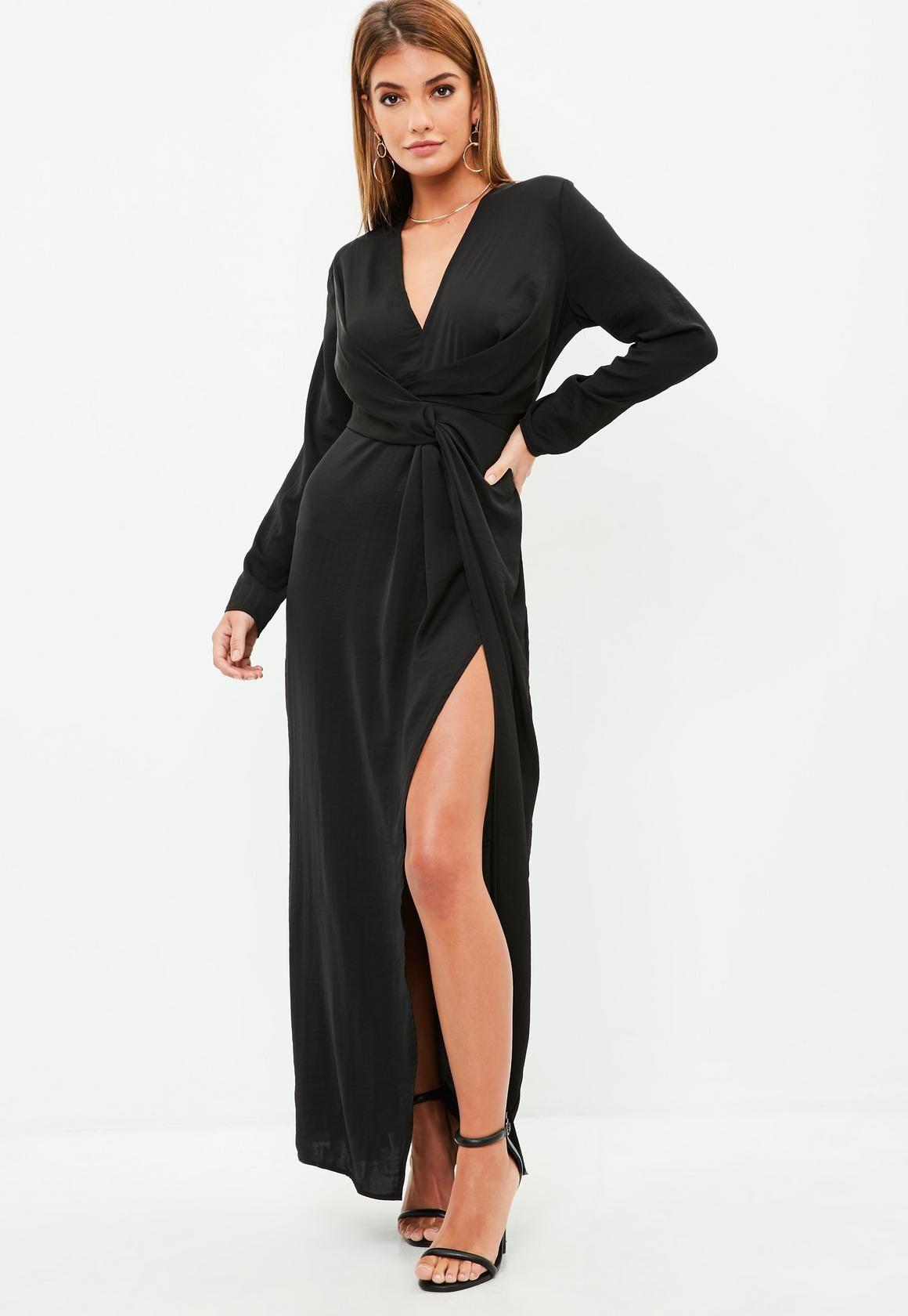 Missguided Black Wrap Front Shirt Maxi Dress Ruched Maxi Dress Maxi Dress Maxi Jersey Dress [ 1680 x 1160 Pixel ]