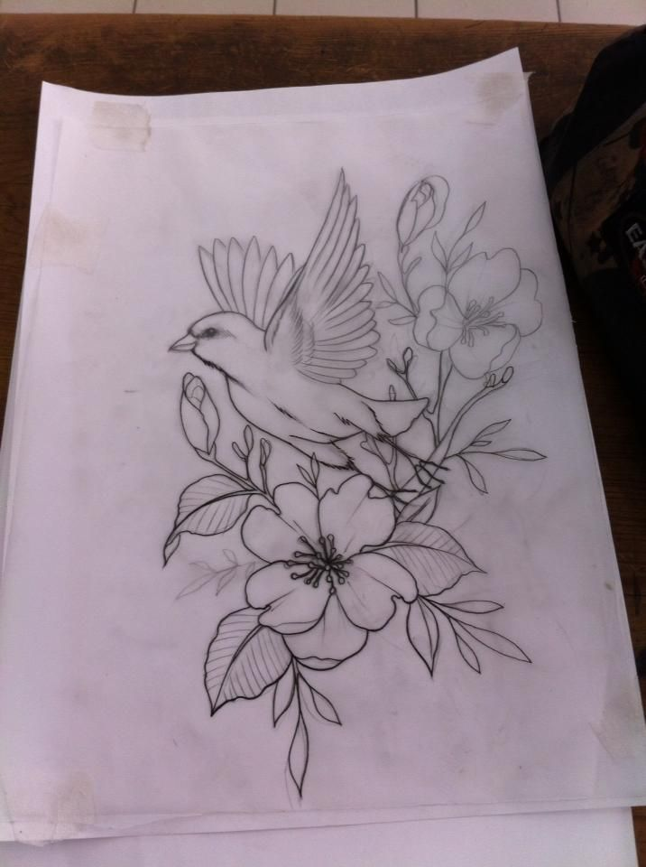 bird in flight/flowers                                                                                                                                                      More -   22 flower bird tattoo