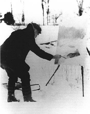 "Willard Metcalf painting ""The Thawing Brook"" in Plainfield, New Hampshire, 1917. de Veer research papers."