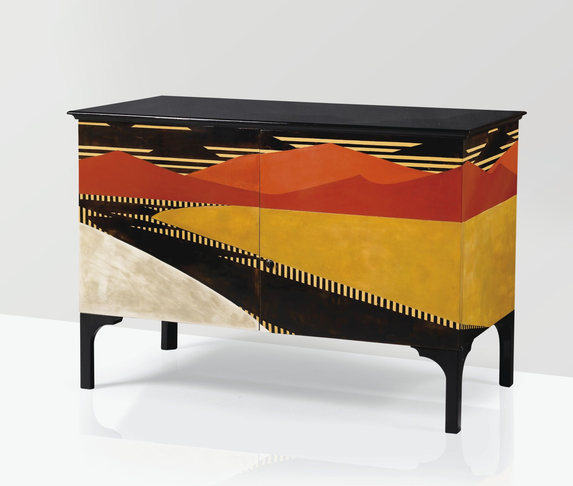 A UNIQUE BLACK AND POLYCHROME LACQUERED CABINET, WITH BIRDu0027S EYE MAPLE  INTERIOR BY JEAN