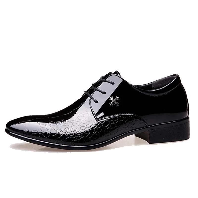 Men Dress Shoe Snake Skin Grain Leather Lace Up Luxury