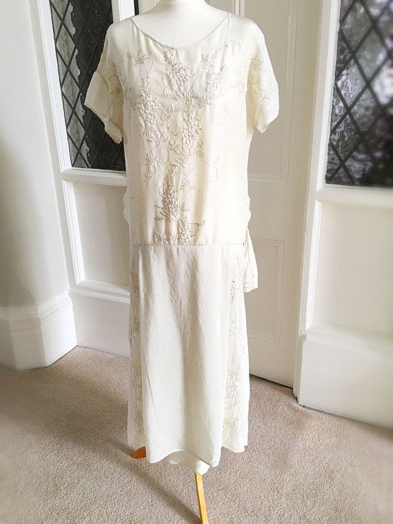1920s Vintage Embroidered Silk Dropped Waist Wedding Dress Antique ...