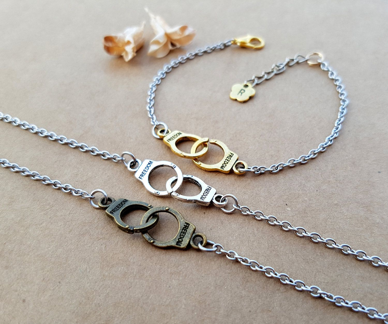 3 Handcuffs Bracelets Partners In Crime Best Friend Matching Love Bracelet Friendship Bff Gift