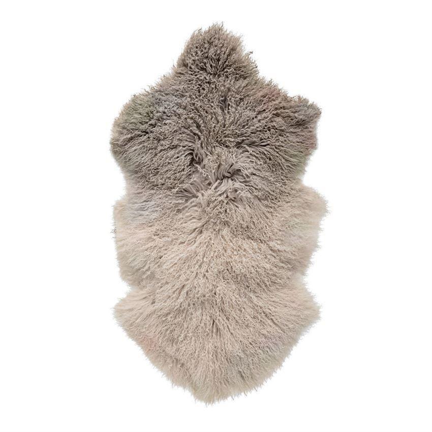 Dip Dye Stone Off White Tibetan Lamb Fur Lambskin Rug Sheepskin Throw Grey Rugs
