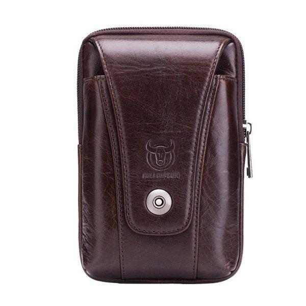 3ca115b98 Bullcaptain Genuine Leather Waist Bag Portable 5.5'' 6'' Phone Bag  Crossbody Bag For Men