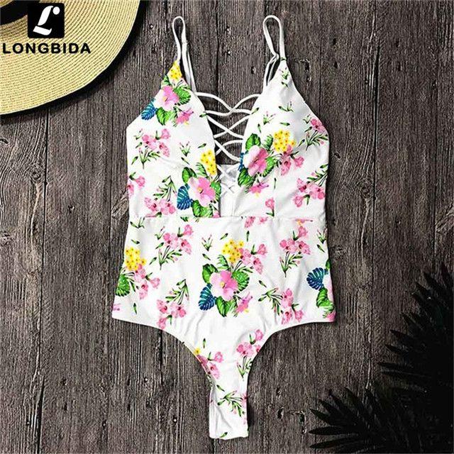 33ca3fdb61 2018 Sexy One Piece Swimsuit Women Swimwear Bodysuit Bathing Suit Print  Beach Wear Bandage Monokini Swimsuit