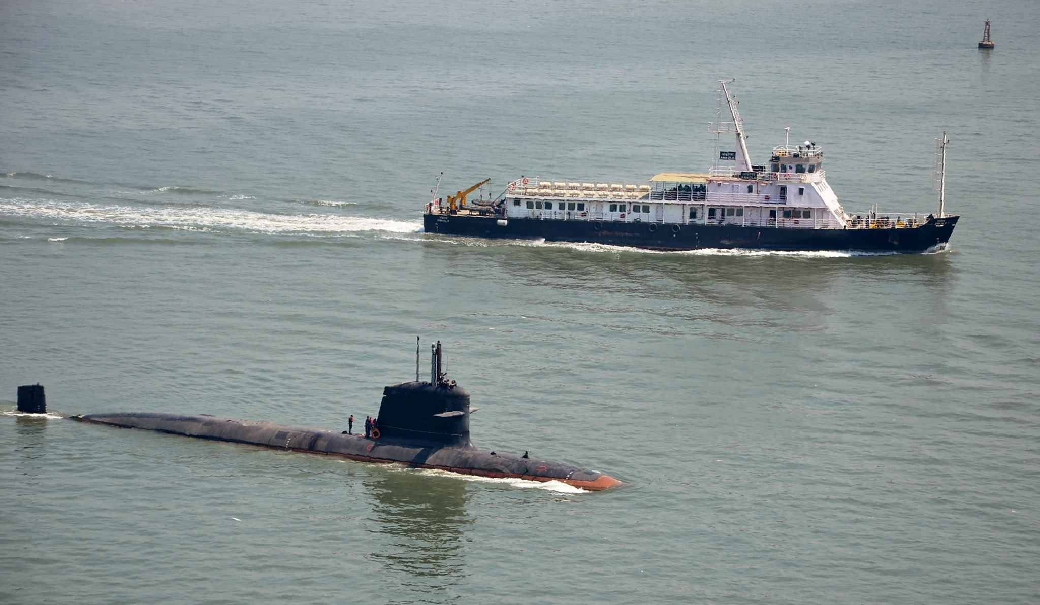 "The Indian Navy, French DCNS designed Scorpene class submarine ""Kalivari"" in India, May 1, 2016."
