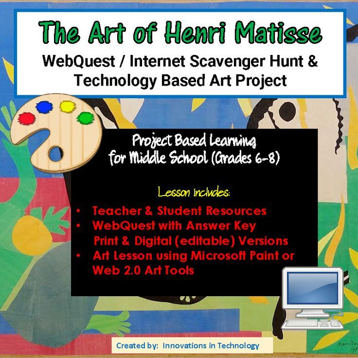 The Art of Henri Matisse - WebQuest / Internet Scavenger Hunt & Art ...