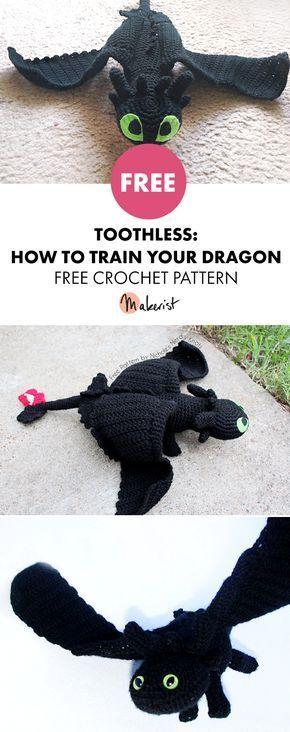 Toothless - Free Crochet Pattern #crocheting #crochet #crochetpattern #toothless #howtotrainyourdragon #dragon