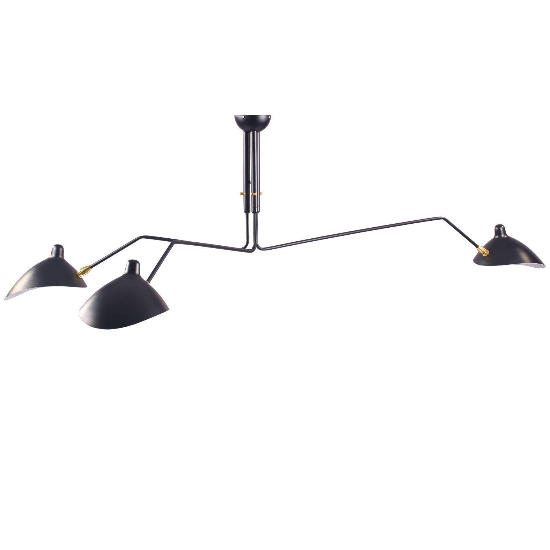 Geinspireerd Op De Driearmige Hanglamp Van Serge Mouille Lampenkappen En Armen Draaibaar Werkt Op Drie Gloeilampen E14 Van Hanglamp Plafondverlichting Lampen