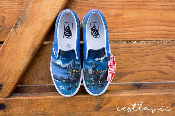 3b35e733c232e Harry Potter Hogwarts Custom Painted Slip-On Vans for Kate Slip-On ...