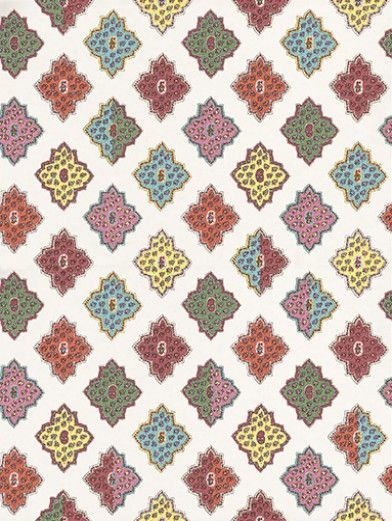 Alcazar (PCL012/06) - Designers Guild Wallpapers - A striking provencal tiled multicolour printed wallpaper, available in a range of vital palettes on a range of beautiful matt, opalescent and metallic grounds.