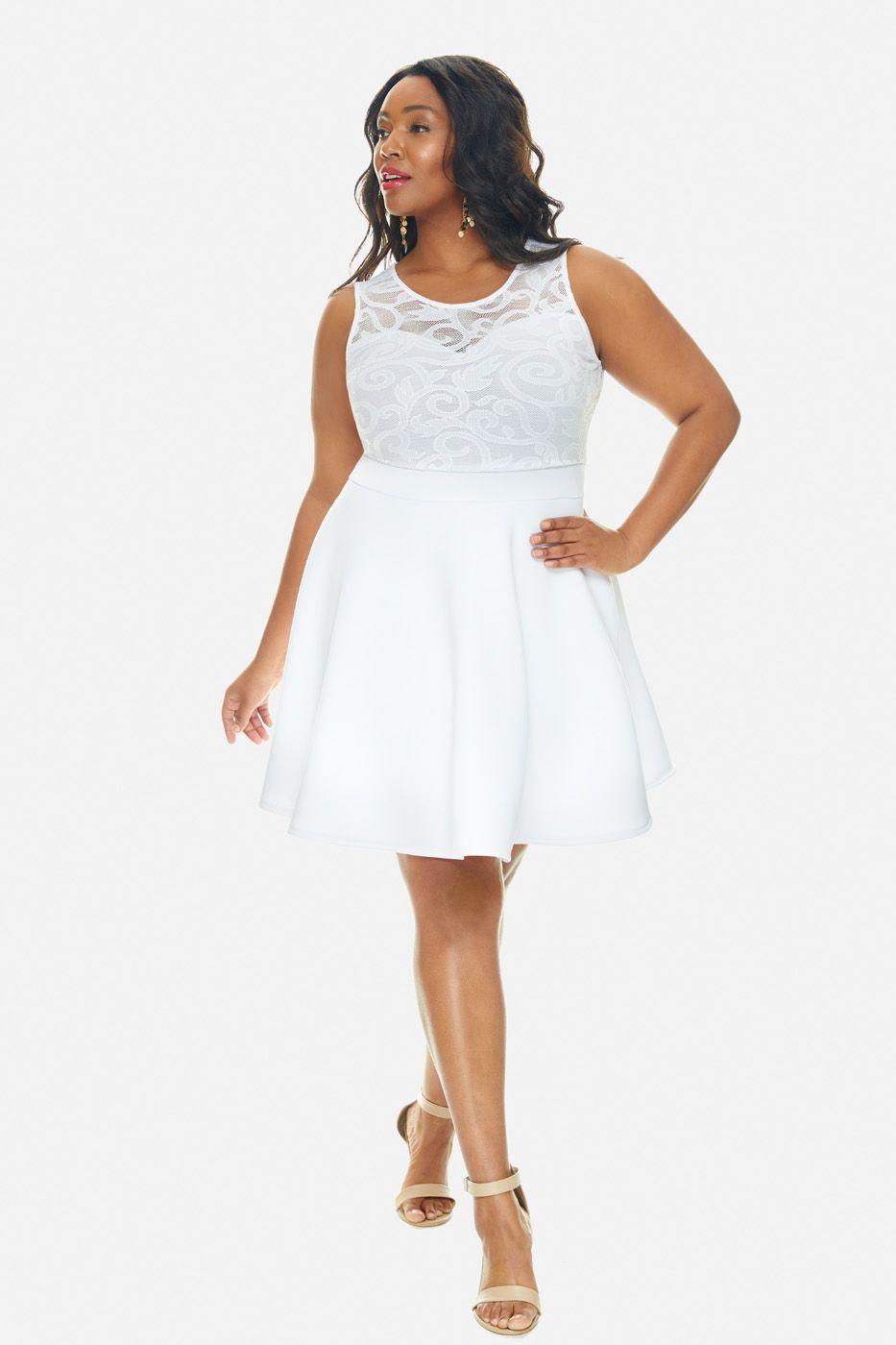 Plus Size Allie Mesh Bodice Fit And Flare Dress Fit And Flare Dress Fashion To Figure Dresses [ 1400 x 933 Pixel ]