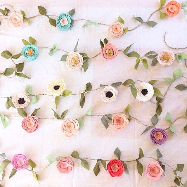 Fancy Free Finery, felt flower garland 6 foot long with extra foot on each  end for hanging 14f03830f23