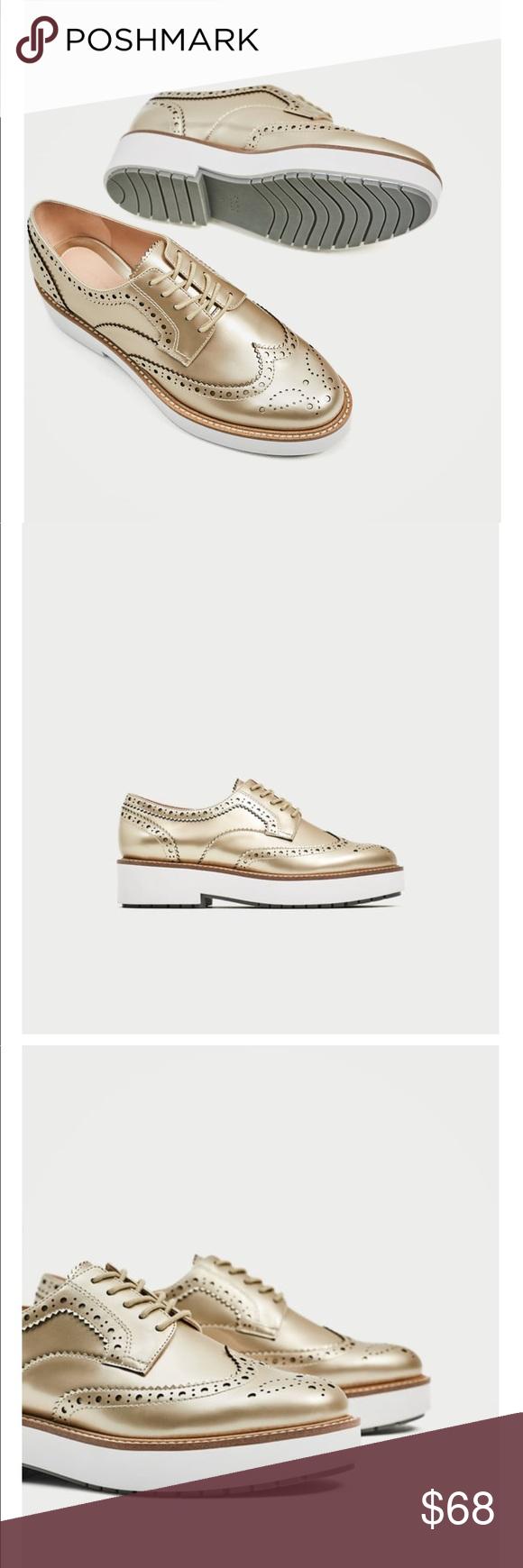 Zara Gold Platform Brogues | Zara gold