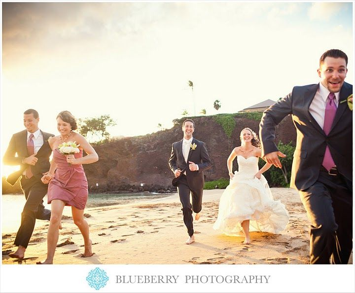 Cute Group Shot for weddings - Running on the beach