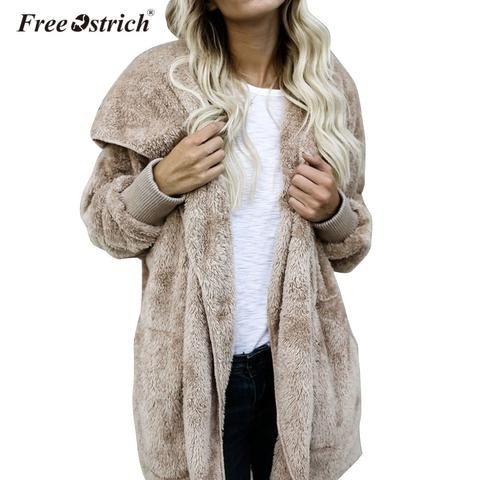 eec8a28012 Free Ostrich Coat Women Winter Hoodie Coats Open Stitch Casual Warm Woman  Parkas Female Coat Overcoat Outerwear L1825