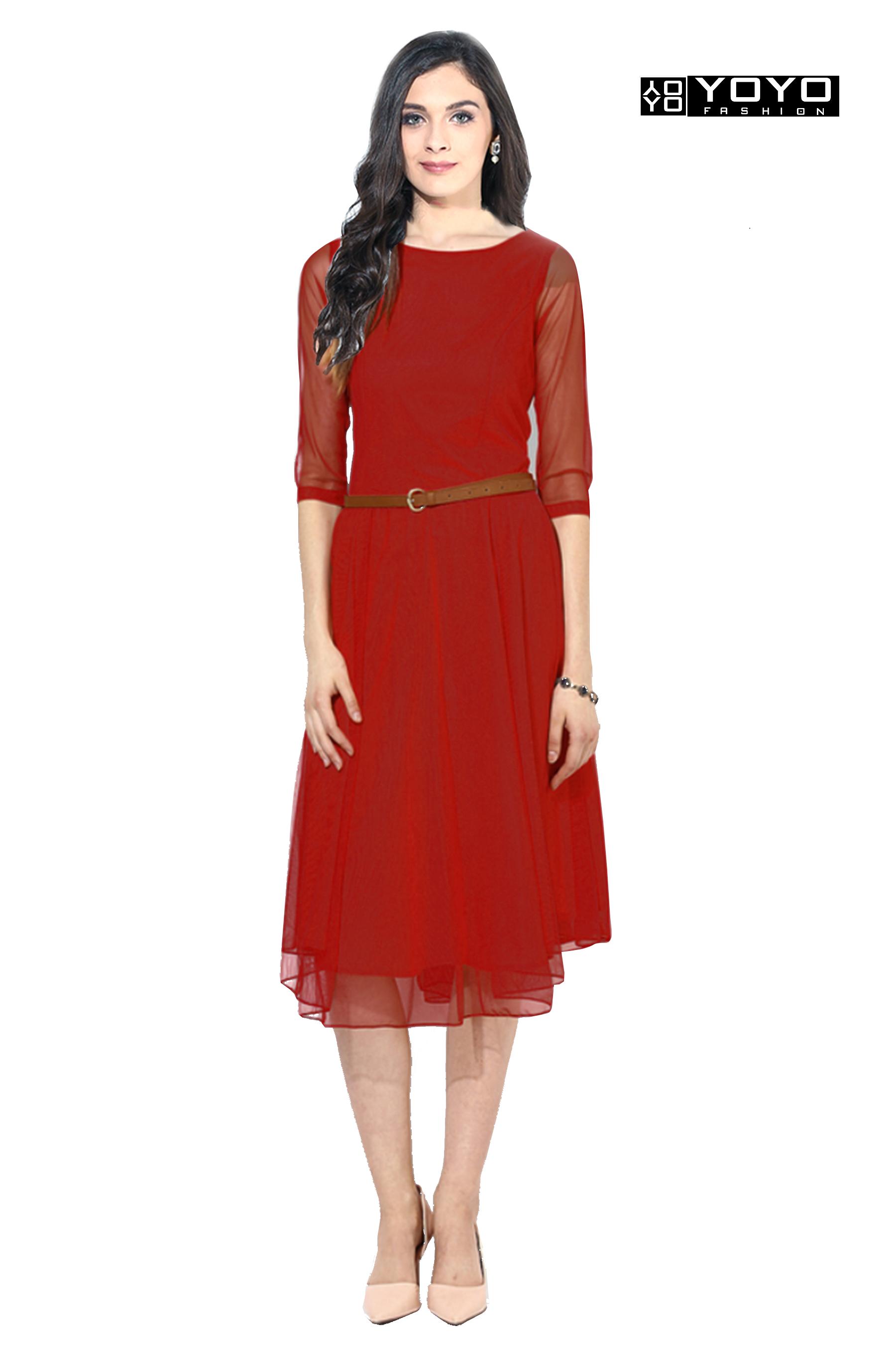 b26e4d7f48 Designer Red Western Dress-Best Ethnic Wear By