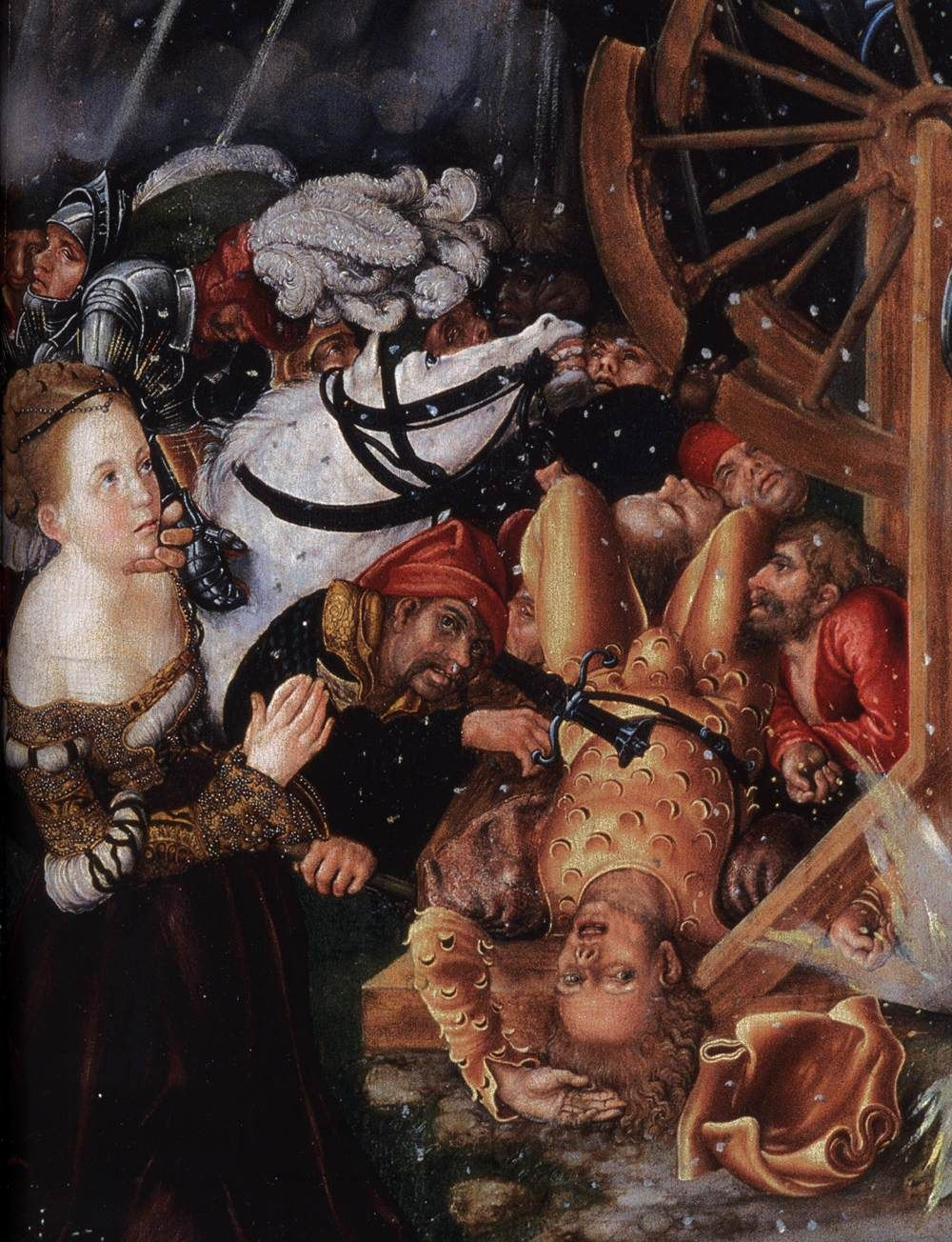LUCAS CRANACH (1472 - 1553) | The Martyrdom of St Catherine, detail - 1504/05. Collection of the Reformed Church, Budapest.