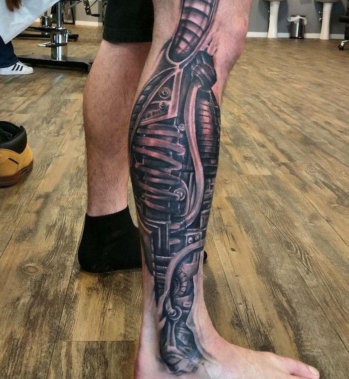 tattoo vorlagen männer, mann mit schwarz grauer