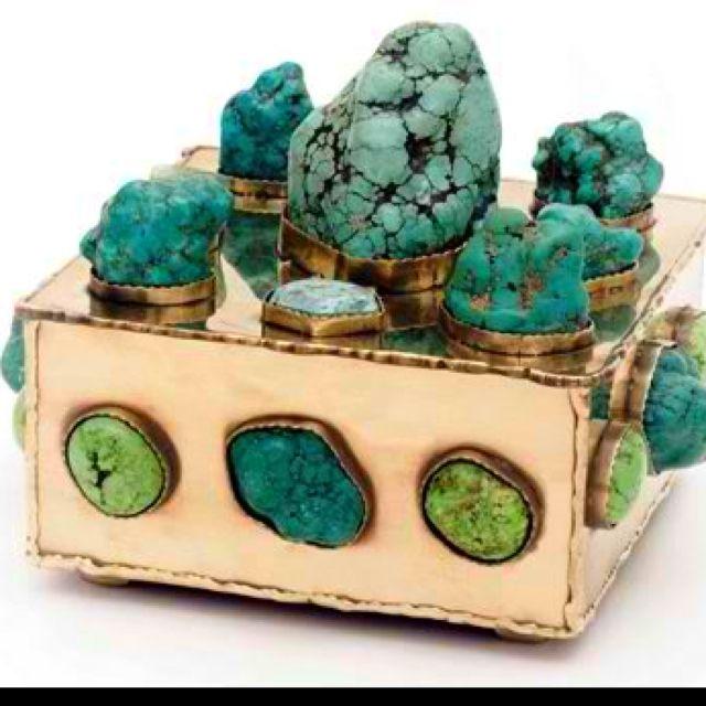 Malachite & Lime Turquoise Brass Bauble Box, Kelly Wearstler for Bergdorf & Goodman