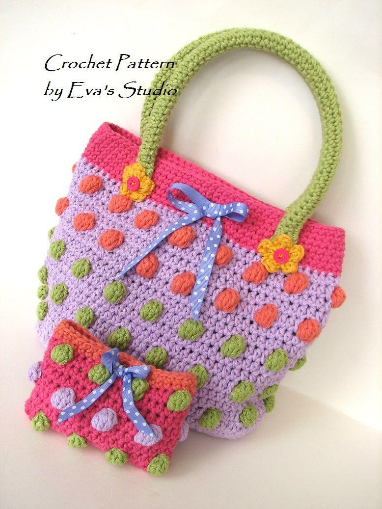 Girls Bag / Purse/ Wallet, Crochet Pattern PDF   Acessórios Infantis ...