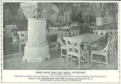 Rookwood Pottery Norse Room Fort Pitt Hotel 1917 Ad