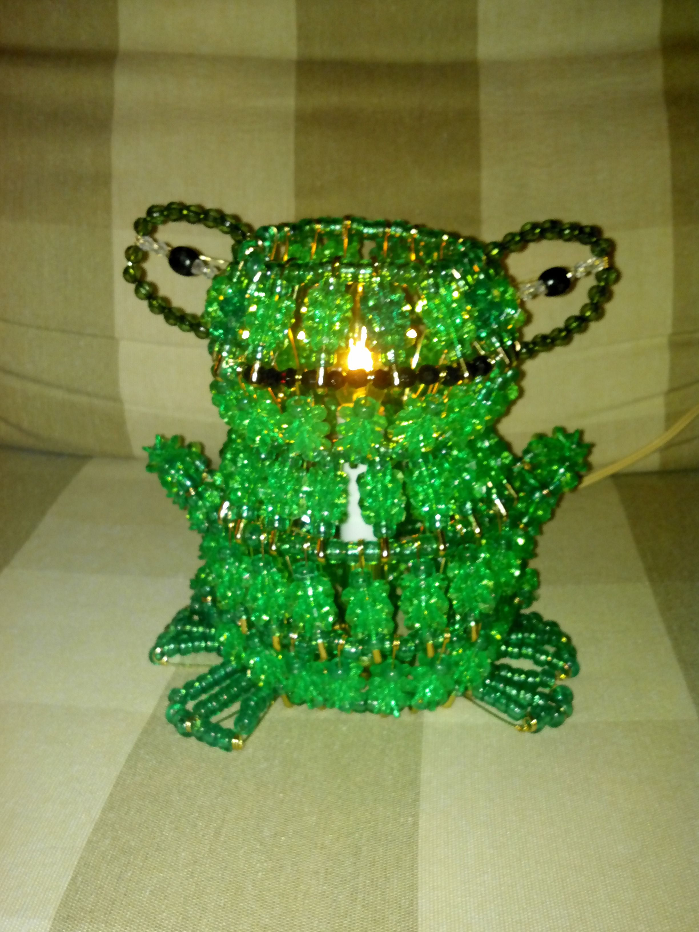 frog light made with beads and safety pins Safety pin
