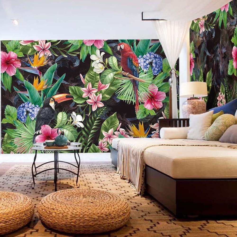 3D Tropical Jungle Flora & Fauna Wall Mural in 2020 Wall