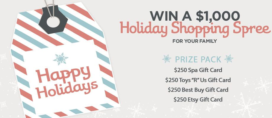 Enter Now To Win 1000 Holiday Shopping Spree For Your Family From Toys R Us Etsy Best Buy And Your Favorite S Holiday Giveaways Spa Gift Card Red Tricycle