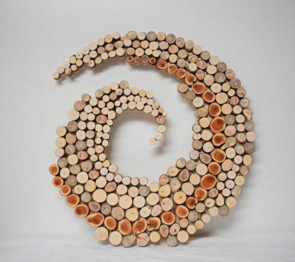 wanddekoration selber machen naturholz scheiben spirale Basteln - wanddekoration selber machen