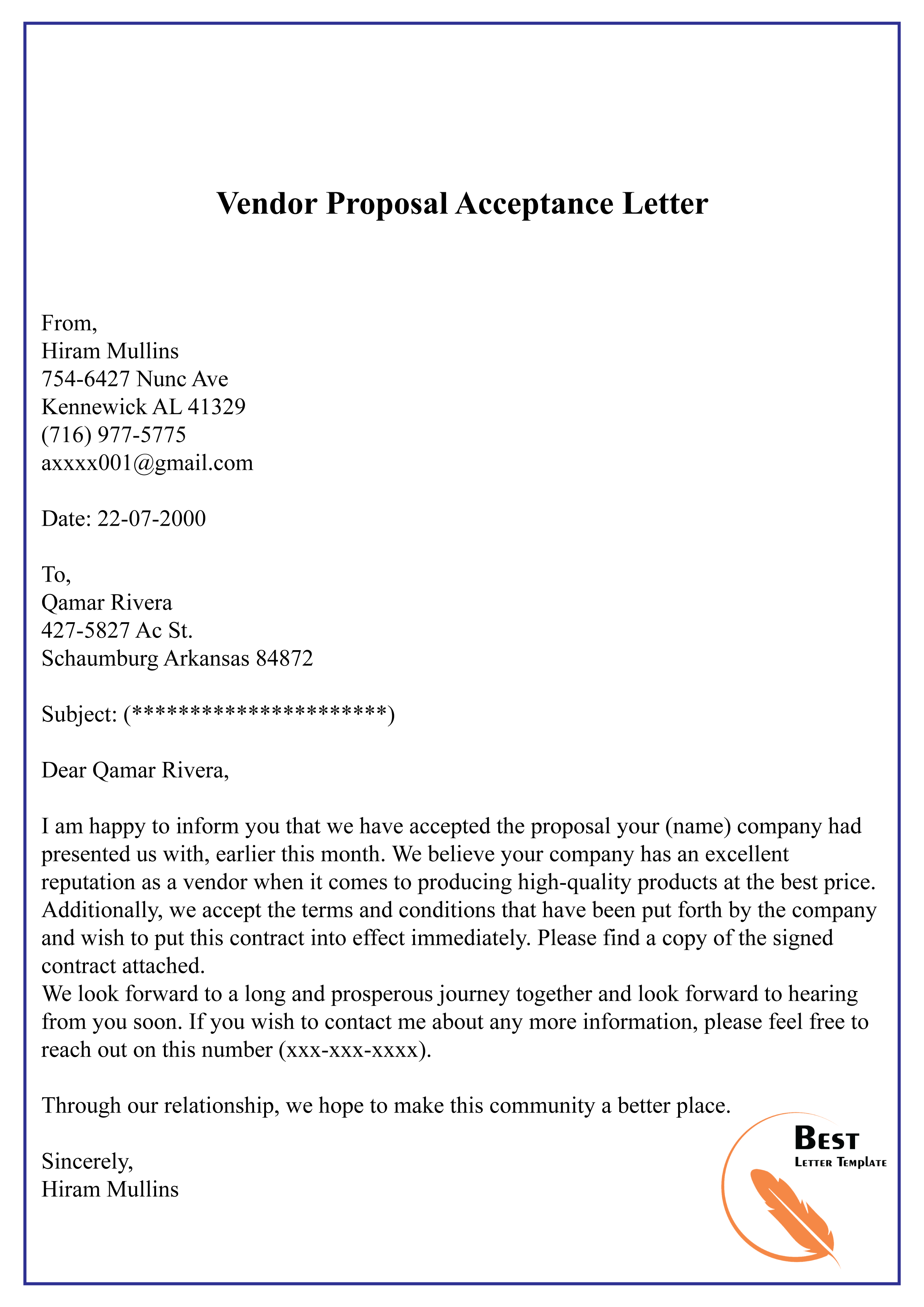 Vendor Proposal Acceptance Letter Why You Must Experience