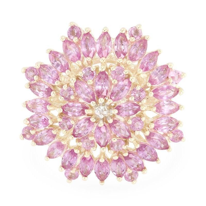Inspiration florale pour cette bague pour femme en or sertie de Saphirs roses de Ceylan - Réf 3824TT - Bijoux Juwelo