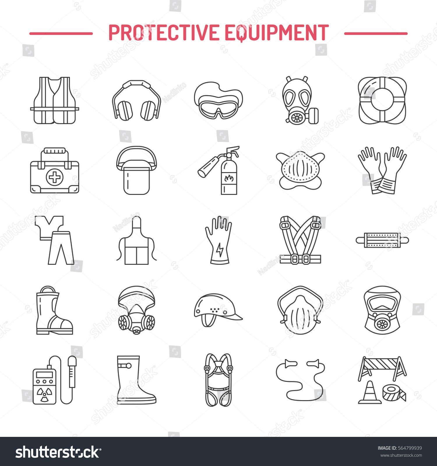 Personal Protective Equipment Line Icons Gas Mask Ring Buoy Respirator Bump Cap Ear Plugs Line Icon Brochure Design Template Personal Protective Equipment