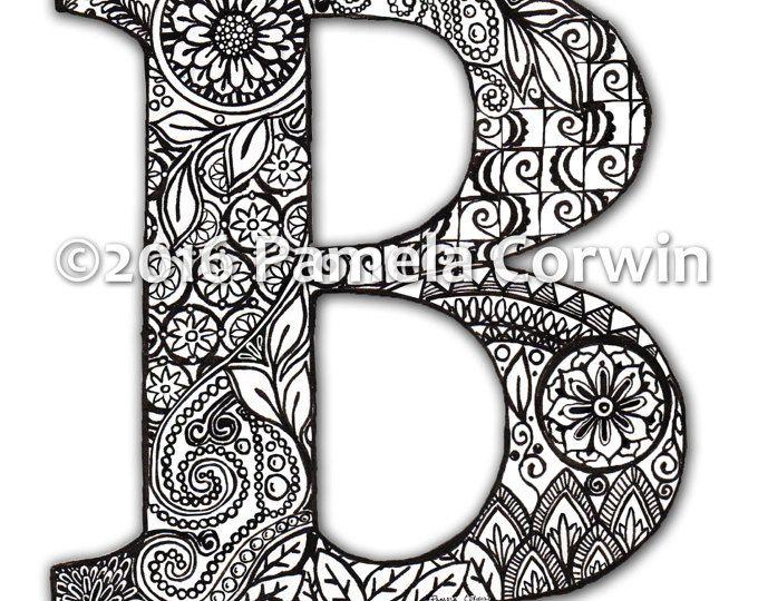 B-Monogramm-Malvorlagen | Bastelei | Pinterest | Bullet and Journal