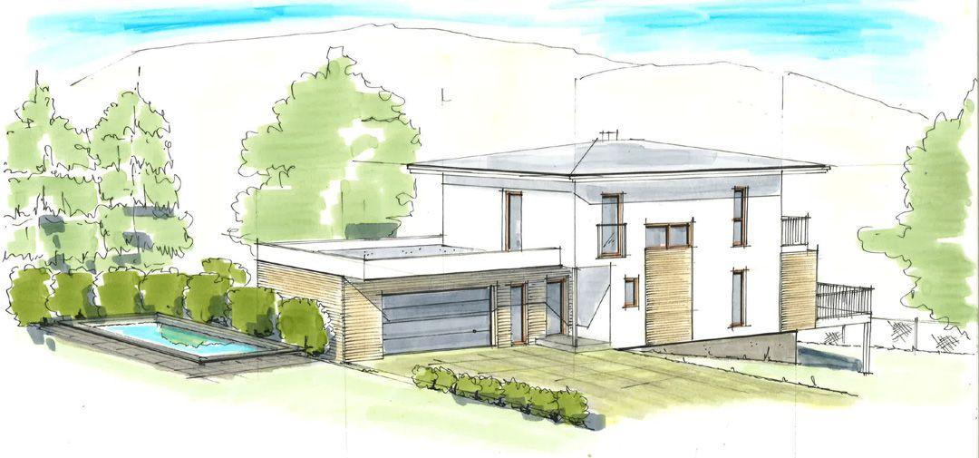 Haus plan walmdach mit garage ideen rund ums haus for Haus plan bilder