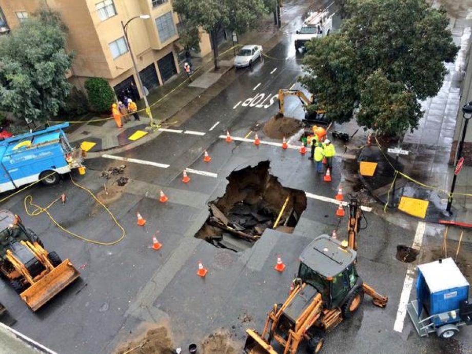 2 sinkholes open up on San Francisco streets during