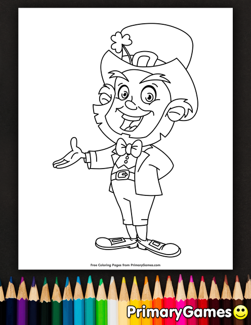 Smiling Leprechaun Coloring Page • FREE Printable eBook ...
