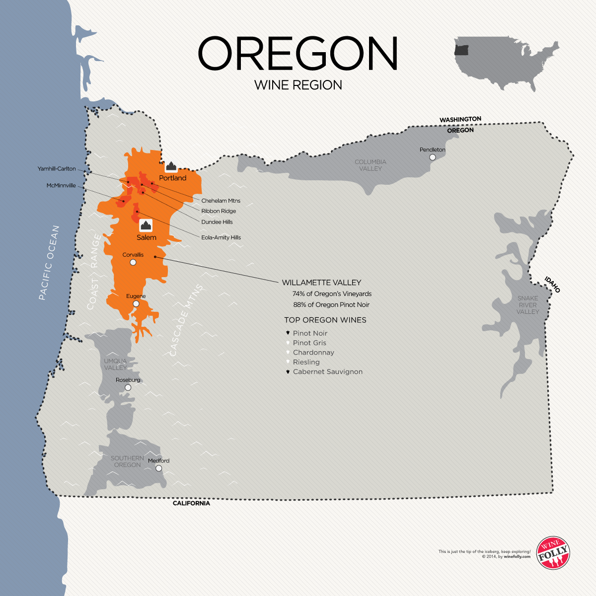 A Guide To Learning Oregon Pinot Noir Willamette Valley Wine - Oregon on the us map
