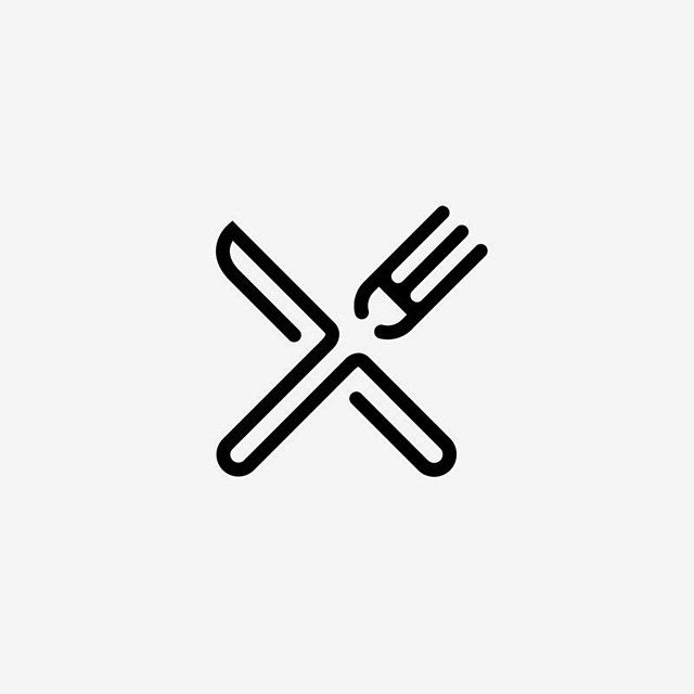 fork and knife. anknown author. #fork #knife #logo #identity #icon
