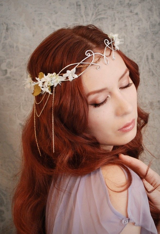 5903ce7231b99 Ethereal flower tiara, ivory floral headdress, wedding hair ...