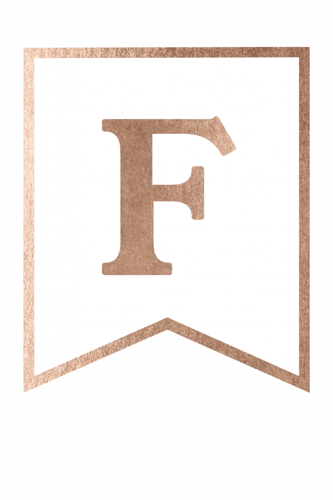 letter f template printable  Free Printable Rose Gold Banner Template | Gold banner ...