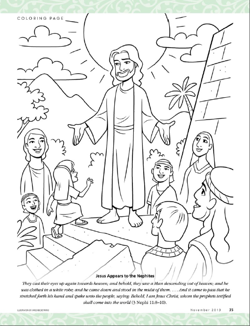 Jesus Appears To The Nephites Lds The Friend Magazine Coloring Page Community Of Christ Bible Art Journaling Elementary Books