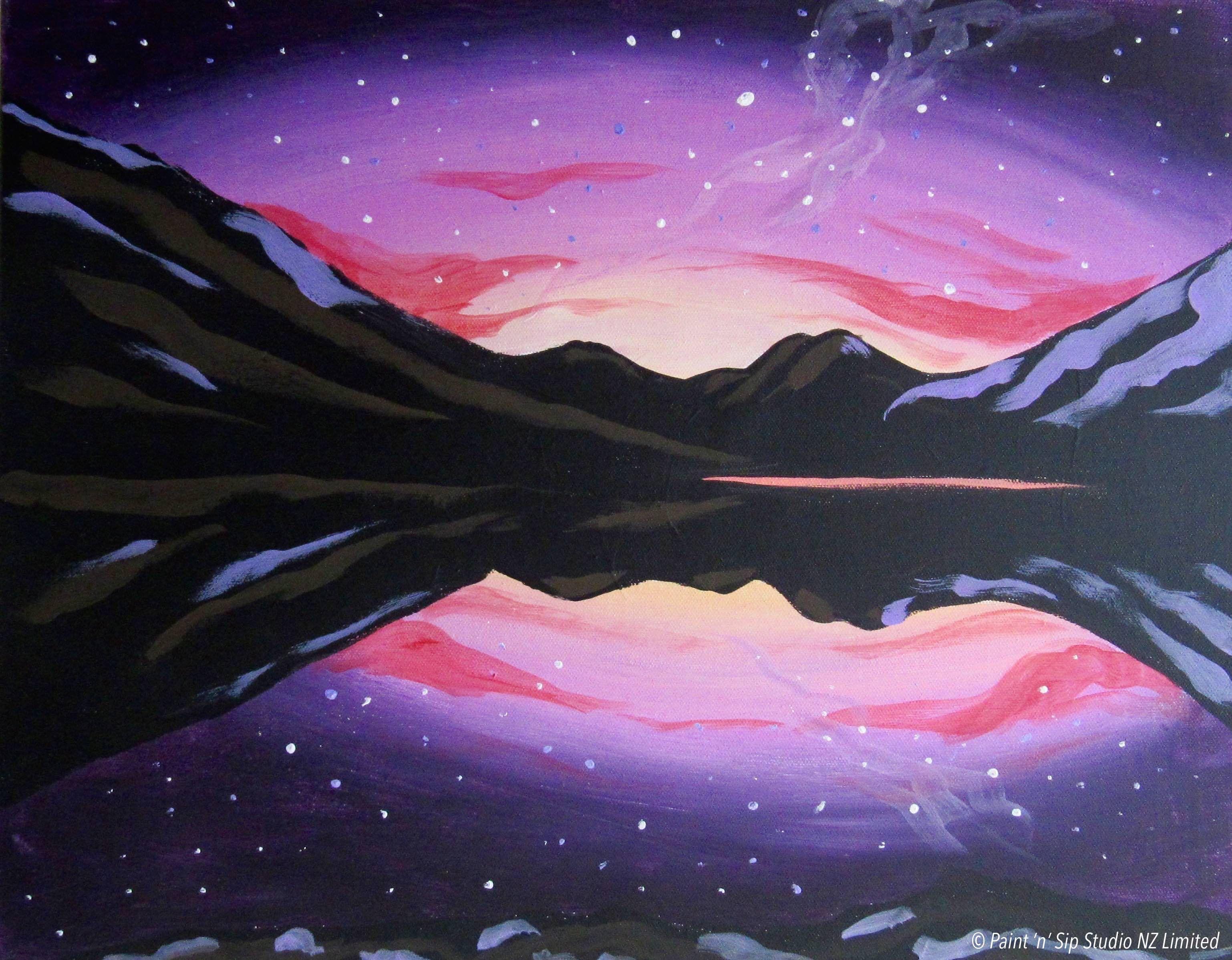 Moke Lake/Southern Lights Light Painting, Drawing S, Phone Wallpapers, Greenery,