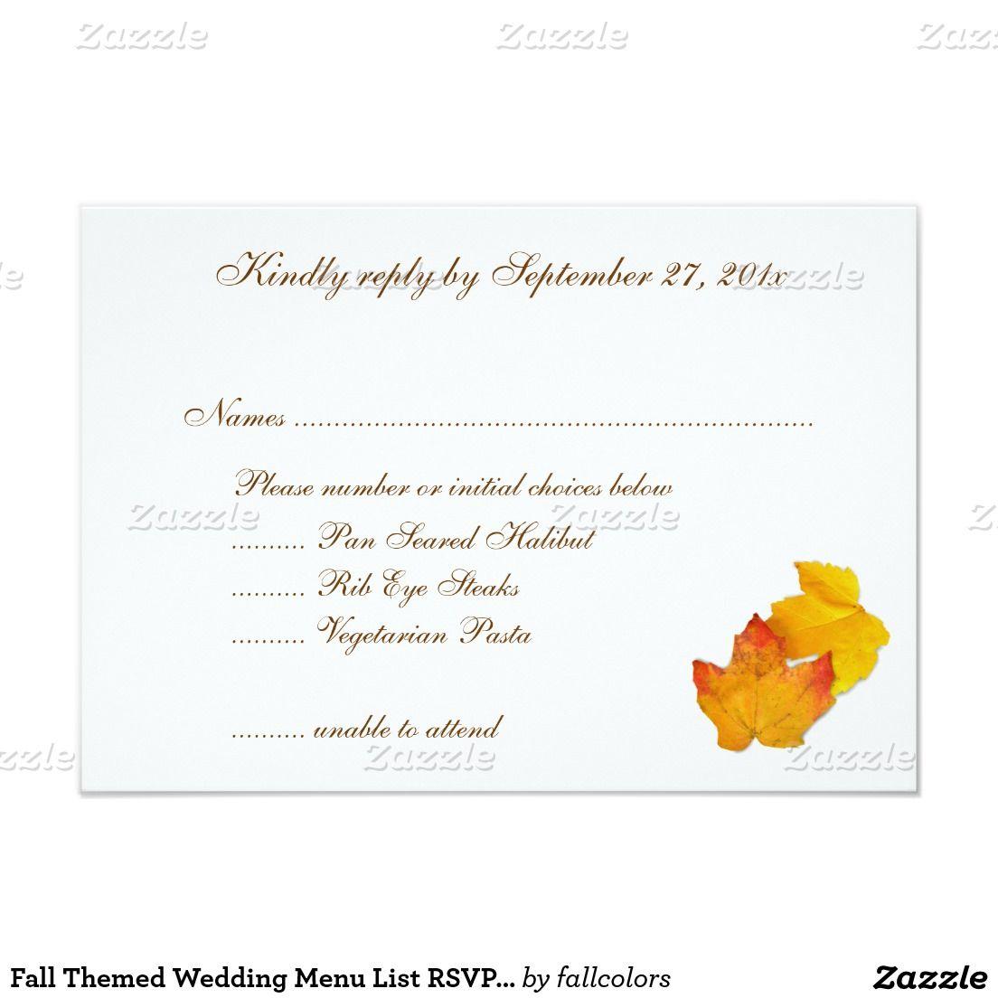 Fall Themed Wedding Menu List RSVP Cards | Menu list, Wedding menu ...