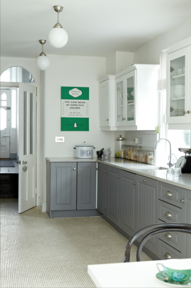 the kitchen units are painted mdf in mid-leadthe little greene