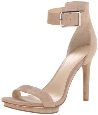 CALVIN KLEIN VIVIAN Platform Ankle Strap White Sandals, size