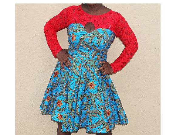 Ankara and lace combination dress african print by AfrowearHouse ...