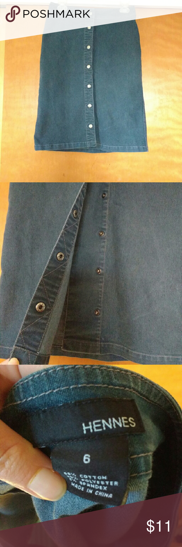 Comfy stretch denim-look skirt! Very comfortable faux stretch denim midi skirt from H&M. Has usable snaps all the way up the front. Has been worn twice and is in amazing condition. All items come from a smoke and pet-free home. H&M Skirts