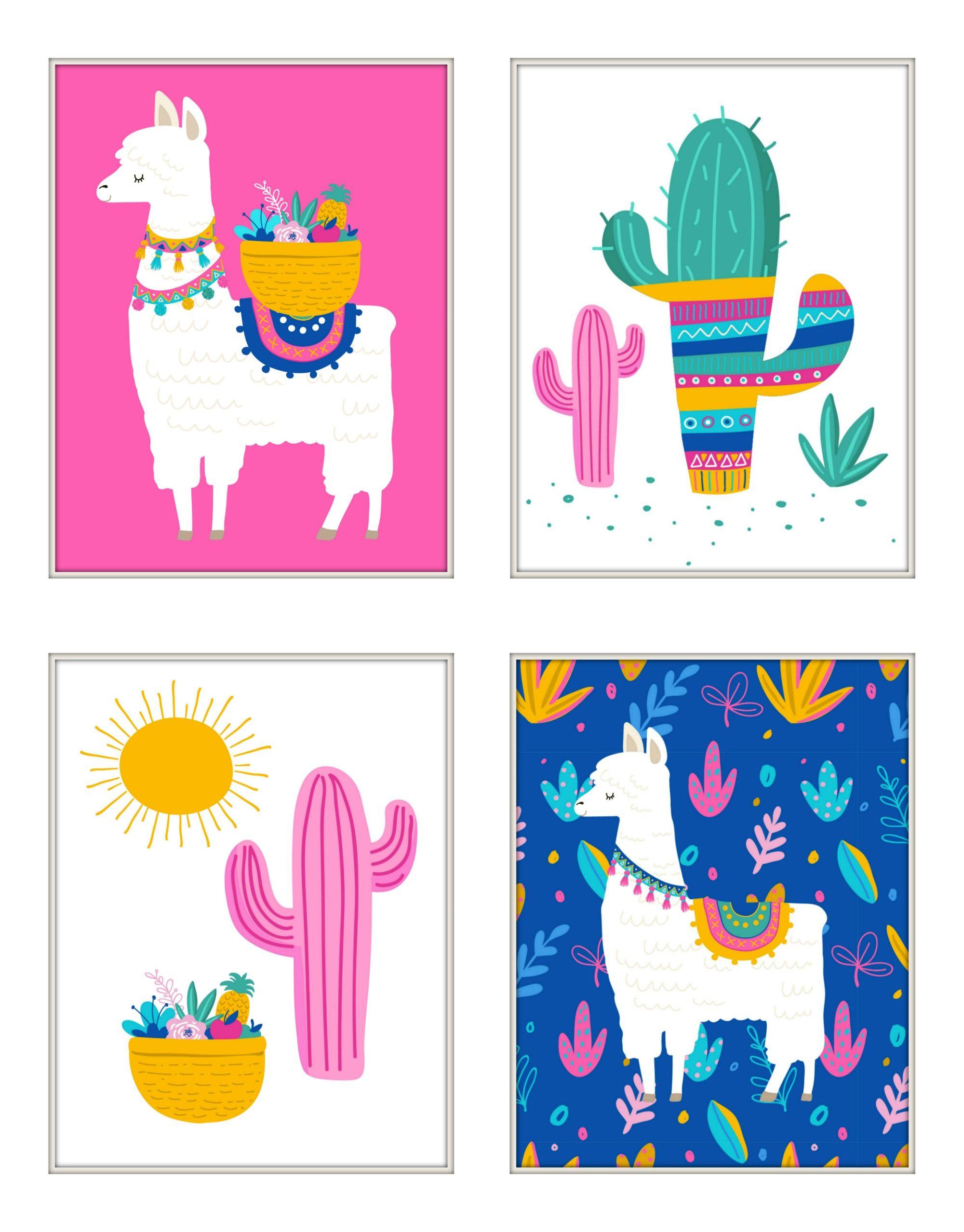 Free Adorable Llama Nursery Printables Set Of 4 Art Wall Kids